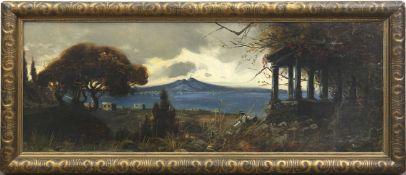 """Maler um 1900 """"Golf von Neapel mit mit Blick auf rauchenden Vesuv"""", Öl/Mp., unsigniert,einige"""