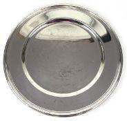 Tablett, versilbert, runde Form mit Profilrand, Dm. 31 cm