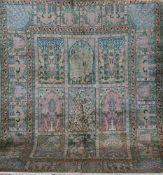 Kashmir, Vollseide, mehrfarbig, mit Bild- und Floralmotiven, Kanten belaufen, 3