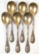 6 Eislöffel, 800er Silber, punziert, ca. 154 g, vergoldete Laffe, Griff mit