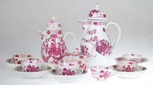 Kaffeeservice für 6 Personen, um 1800, Rauenstein, purpurfarbene Foralmalerei, bestehendaus 2
