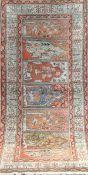 Alter Afshari, Persien, Pflanzenfarben, dunkelgrundig, mit zentralem Medaillon, Kantenbelaufen, 1