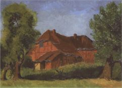 """Maler des 20. Jh. """"Norddeutsches Bauernhaus"""", um 1920, Öl/Lw., undeutlich sign. u.l.,50x66 cm,"""