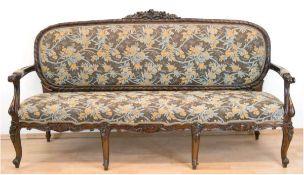 Louis-Philippe-Sofa, 3-sitzig, Mahagoni, restauriert, 110x200x59 cm