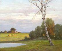 """Krüger, Erich (1897-1978) """"Sommerabend am Bodden bei Ahrenshoop"""", Öl/Lw., sign. u.l.,60x70 cm,"""