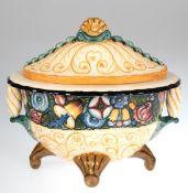 Deckelschale, Karlsruher Keramik, gemarkt, Entw. Alfred Kusche, Modell-Nr. 1440, ovaleForm mit