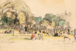 "Duschek, Richard (1884 Neugarten- 1959 Besigheim) ""London- Regent Park"", Mischtechnik,Aquarell,"
