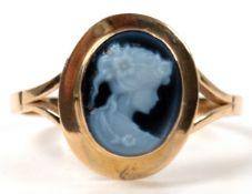"""Ring mit Lagenkamee """"Porträt einer jungen Dame"""", 585er GG, RG 54,5"""
