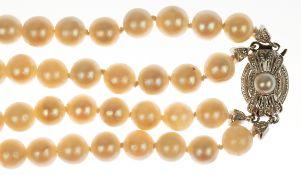 Perlencollier, 2-reihig, Perlen-Dm. 7 mm, mit 585er WG/GG-Schließe, geringeWachstumsmerkmale, hohe