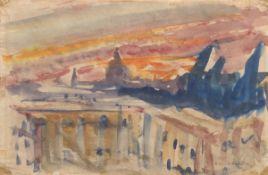 """Zitzewitz, Augusta von (1880 Berlin-1960 ebenda) """"Abstrakt"""" , Aquarell/Papier, 22x29 cm,hinter"""