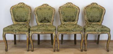 4 Stühle im Barockstil, 19. Jh., Holz, beschnitzt und gold gefaßt, gepolsterter Sitz undRückenlehne,