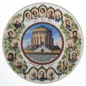 """Andenkenteller """"Den Teutschen Befreiungskämpfen Ludwig I König von Bayern"""", bedruckt, Dm.24 cm"""