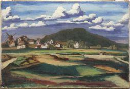"""Expressionist (Deutschl. 19./20. Jh.) """"Ostpreußische Dorflandschaft mit Windmühle"""", Öl"""