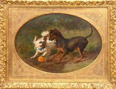 """Steffeck, Carl Constantin (1818 Berlin- 1890 Königsberg) """" Zwei mit Ball spielende Hunde"""",Öl/Hf.,"""