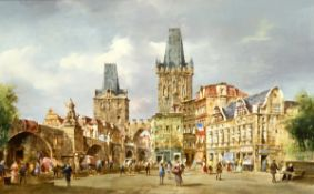 """Pallmann, Peter Götz (1908 Berlin-1966 ebenda) """"Ansicht von Prag mit belebterKarlsbrücke"""", Öl/Hf.,"""