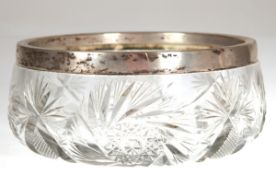 Schale, Kristall mit Schliff und 800er Silberrand, H. 10 cm, Dm. 22 cm