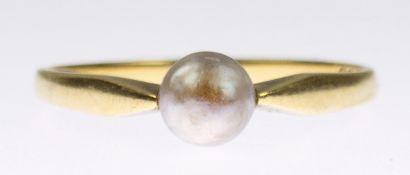 Ring, 585er GG, besetzt mit silbergrauer Perle, ges. 2,37 g, RG 57