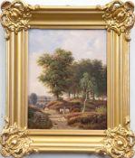 """Romantiker (1.H.19. Jh.) """"Sommerliche Waldlandschaft mit Reiter auf Landweg"""",Öl/Hartfaser,"""
