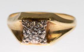 Ring, 585er GG/WG, besetzt mit 7 kl. Brillanten, ges. 3,38 g, RG 59