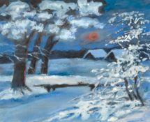 """""""Winterlandschaft in der Abendsonne"""", Mischtechnik, unsign., 18x18 cm, im Passepartouthinter Glas"""