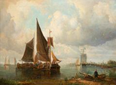 """Maler (Holland 19. Jh.) """"Holländische Küstenlandschaft mit Fischerbooten, Segelschiffenund"""