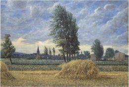 """Landschaftsmaler 19./20. Jh. (Schwaaner Schule, wohl Bunke-Schüler) """"Erntelandschaft beiSchwaan"""","""