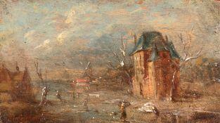 """Schelfhout, Andreas (1787- 1870 Den Haag) """"Holländische Winterlandschaft mit zugefrorenemFluß,"""