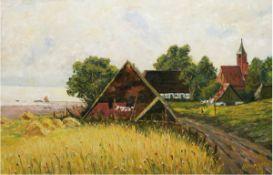 "Hansen, A. (Impressionist 20. Jh.) ""Blick auf Schaprode"", Öl/Mp., sign. u. dat. '39 u.r.,50x73 cm,"