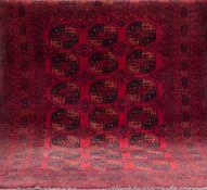 Alter Afghan, rotgrundig mit durchgehendem, gleichbleibendem Muster, guter Zustand,255x205 cm