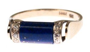 Ring, 14 kt GG, besetzt mit Lapislazuli un 6 kleinen Diamanten, RG 59, im Etui