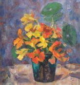 """""""Blumenstilleben mit Frühlingsstrauß in Vase"""", Öl/Hf., unsign., 35,5x29 cm, Rahmen"""