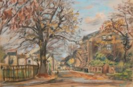"""Osten, B. von """"Herbsttag"""", Pastell, sign. u.r. und dat. 1958, 34,5x48,5 cm, imPassepartout hinter"""