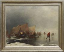 "Tetar van Elven, Jan Babtist (1805 Amsterdam-1879 Voorschoten) ""Schlittschuhläufer"",Öl/Lw., sign."