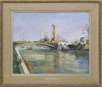 "Nalbandjan, Dimitrij (1906 Tiflis-1993 Moskau) ""Paris - Blick auf die Seine"", Öl/Lw./Mp.,sign. u."