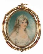 "Großes Medaillon/Anhänger mit Miniaturmalerei ""Porträt eines jungen Mädchens"" aufBeinplatte, 19."