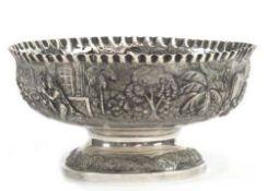 Schale, Burma, Silber, geprüft, ca. 421 g, umlaufende Szenen des myanmarischen Lebens, H.10 cm,