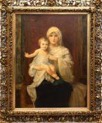 """Nazarener (19.Jh.) """"Madonna mit Kind"""", Öl/Lw., unsign., am rechten Rand kl. Flecken, 98x69cm, im"""