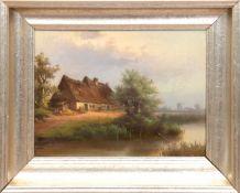 """Reetdachhaus am See"", Öl/Mp., unsign., 34x46 cm, Rahmen"