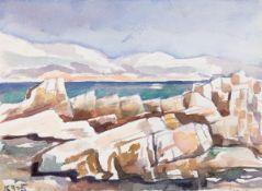 "Behle, Alfred (1935-1997) ""Felsenküste-Lopud"", Aquarell, rückseitig Inventarnummer,30x37,5 cm"