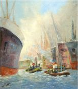 "Jungschläger, Heinrich (Maler aus Merzig/Saarland, 20. Jh.), ""Hafenszene"", Öl/Lw., 60x50cm, Rahmen"