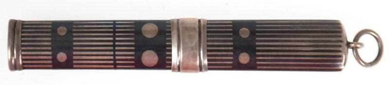 Bleistifthalter, Silber, Niellodekor, im Querschnitt ovale Form mit Schiebemechanismus fürBleistift,