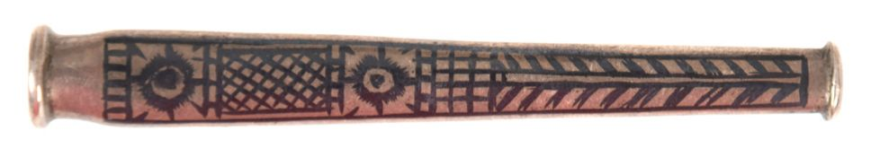 Zigarettenspitze, Rußland, Silber, ca. 16 g, Niellodekor, L. 7 cm