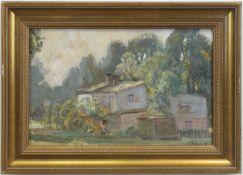 """Pflugradt, Franz (1861 Peenwerder/Demmin-1946 Zingst) """"Haus am Waldrand"""", Öl/Mp., sign.u.r., 20x30"""