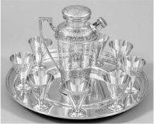 Cocktail-Service, Sterling-Silber, 1939, 10-teilig dabei Mixkanne, 8 Cocktailbecher undTablett,