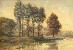 """Oppenoorth, Willem (1847 Amstedam-1905 Utrecht, Niederlande) """"Idyllische Landschaft"""