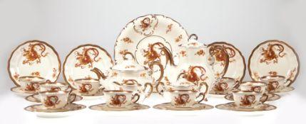Kaffee- und Teeservice für 10 Personen, Koenigszell um 1940, Drachendekor mit Goldrand,bestehend aus