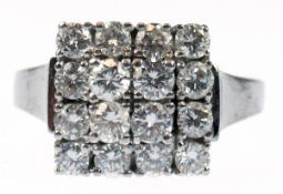 Brillant-Ring, 585er WG, mit 12 Vollschliffbrillanten, ca. 0,12 ct., im gestuften