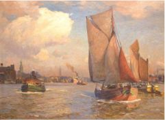 """Becker, Carl Emil Rudolf Ludwig (1862 Hameln-1926 Blankenese) """"Szenerie im Hamburger Hafen auf Höhe"""