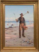 """Carlsen, Carl (1855 Kopenhagen- 1917 ebenda) """"Fischer am Strand bei Skagen"""", Öl/Lw., signiert und"""