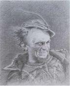"""Lösser, Christoph (geb. 1979 in Meiningen) """"Porträtstudie- Mephisto"""", Bleistift/Papier, signiert"""